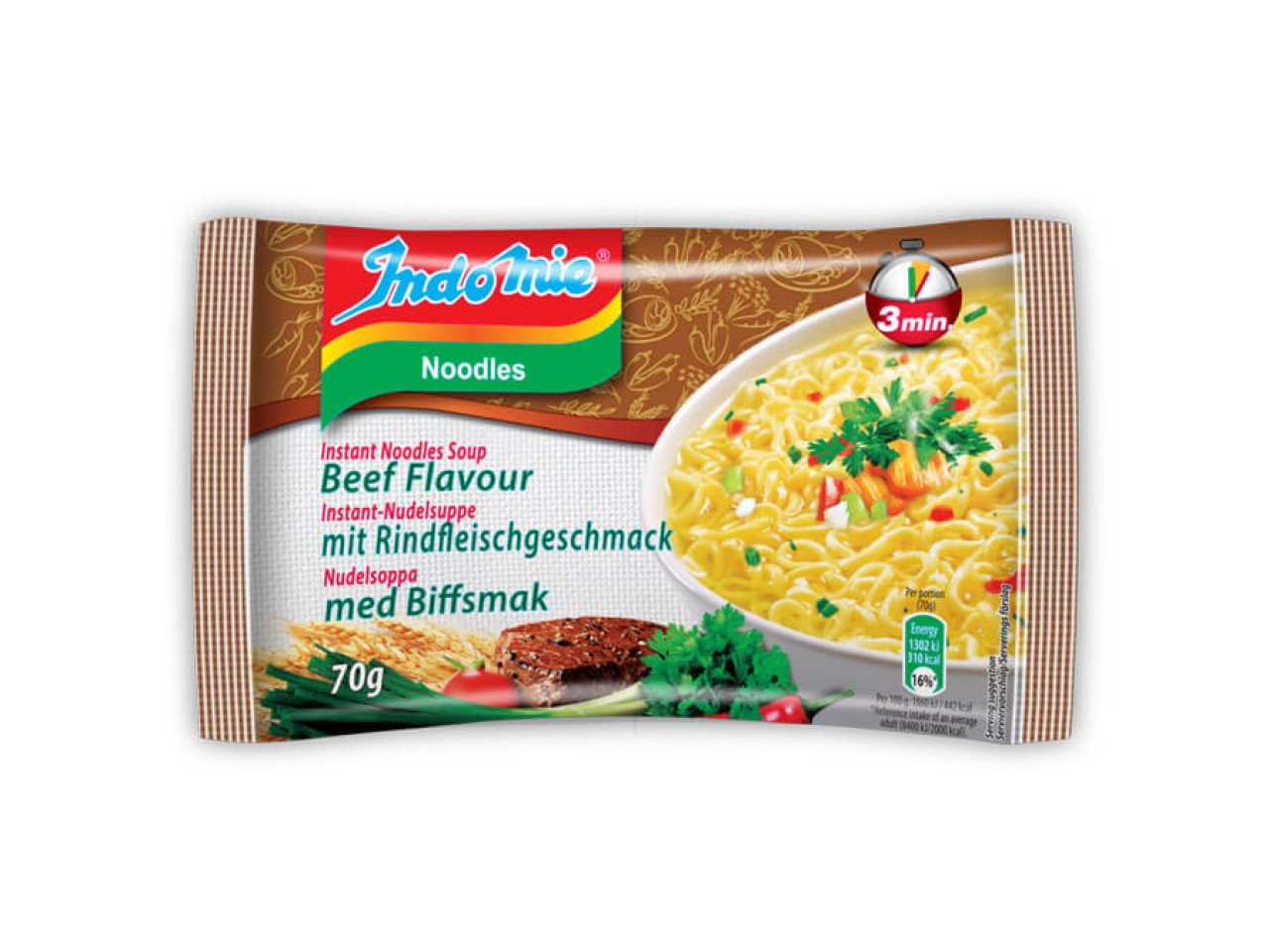 Indomie instant noodles soup Beef flavour