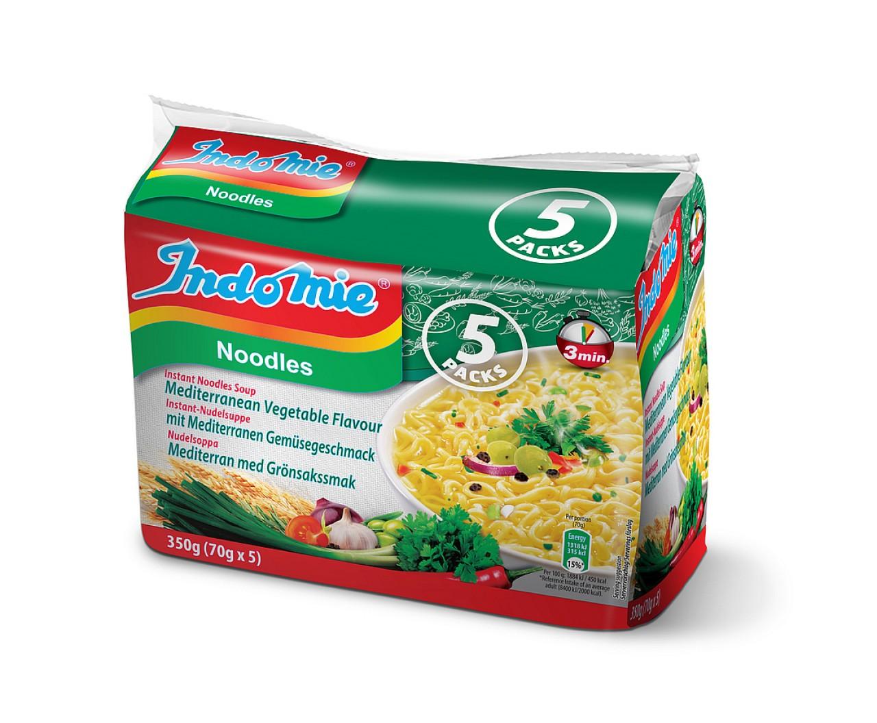 Indomie instant noodles soup Mediteranean vegetable flavour