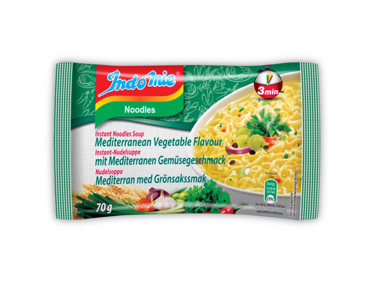 Indomie instant noodles soup Mediteranean vegetable flavour